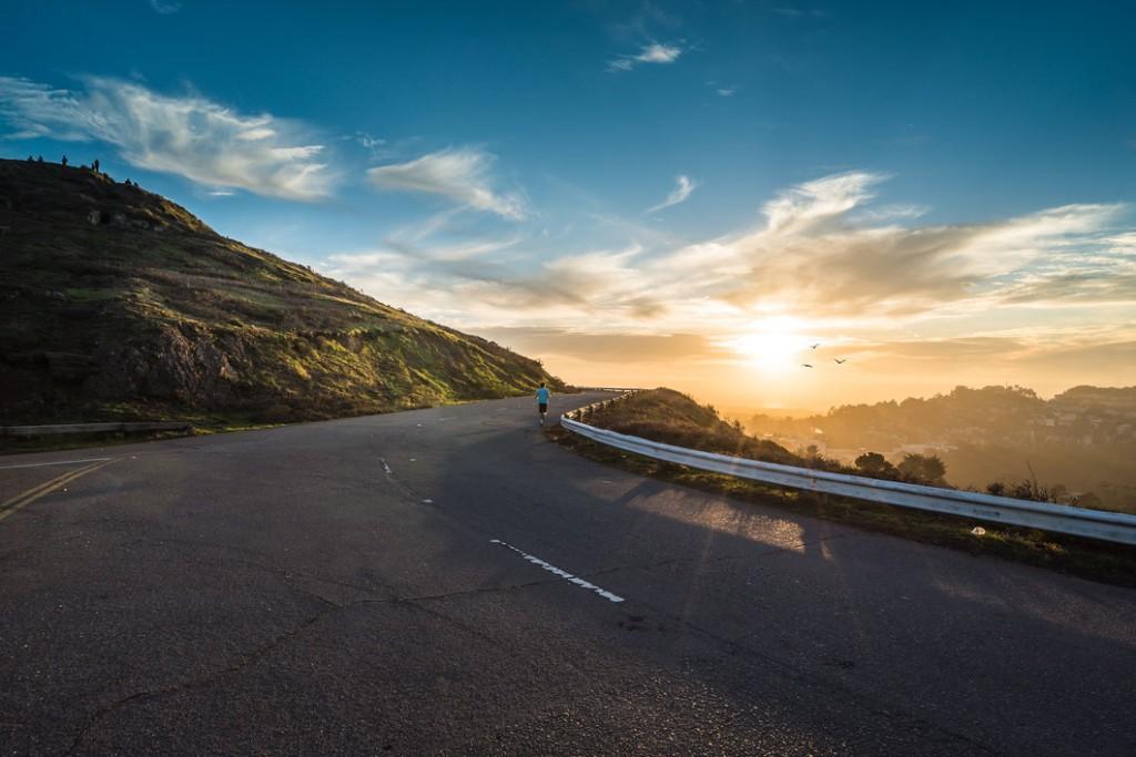winding road with sun shining (2)